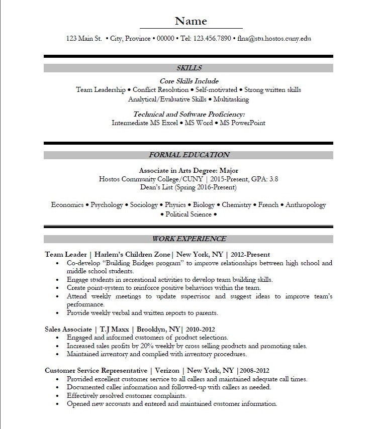 graduate resume sample student resume sample sciences - Science Major Resume Skills