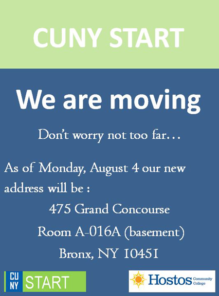 CUNY Start is Moving to A-016A (basement)