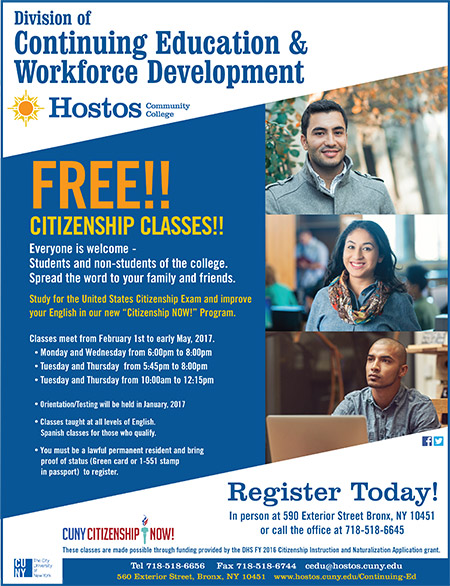 Free Citizenship Classes - Spring 2017