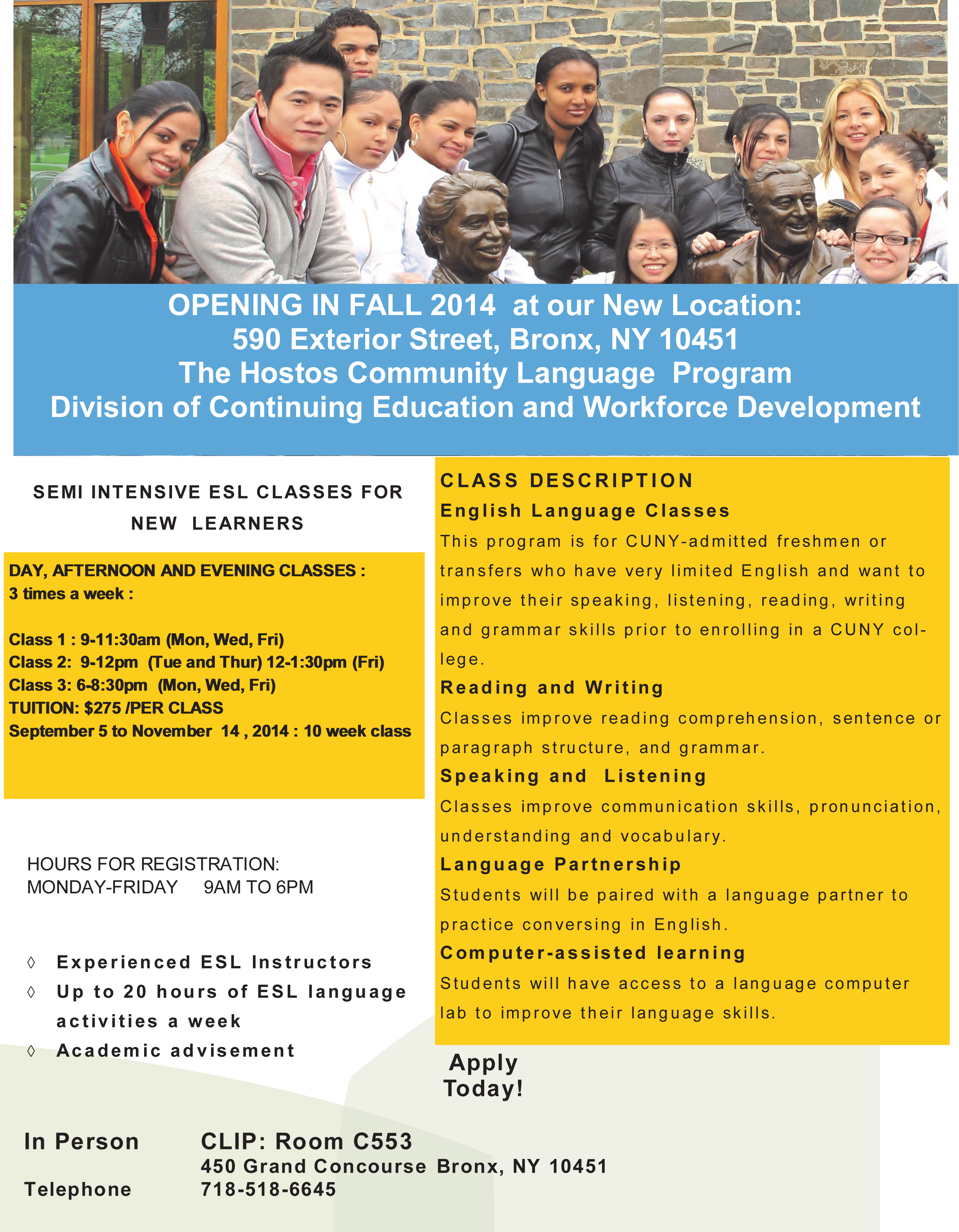 Hostos clip program moving into new home hostos community college esl classes for new language learners in the cuny system who lack basic english communication skills this program includes volunteer language speakers baditri Images