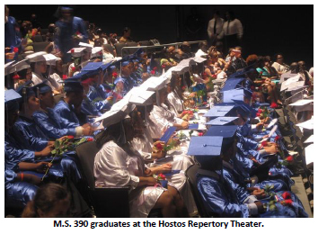 Graduates in caps and gowns.