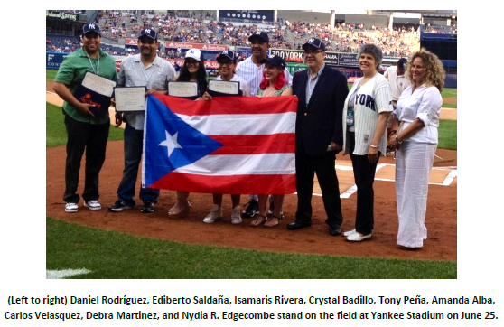 Left to right- Daniel Rodriguez, Ediberto Saldana, Isamaris Rivera, Crystal Badillo, Tony Pena, Amanda Alba, Carlos Velasquez, Debra Martinez and Nydia R. Edgcombe