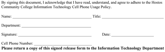 Cell phone usage policy hostos community college for Mobile phone policy template