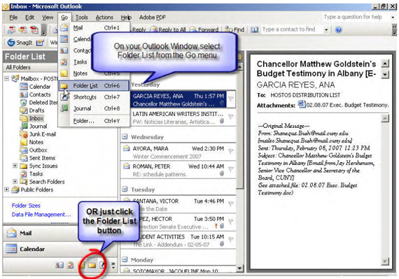 Accessing Public Folders in Outlook 2003