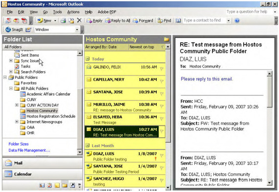 Screenshot of Opened Hostos Community Folder