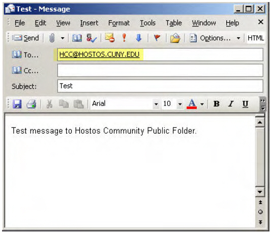 Sending Emails to the Hostos Community Public Folder