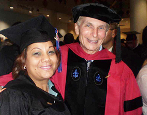 Wanda Rivera and Professor Cohen at graduation on January 14, 2010