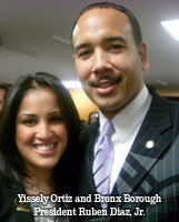 Yissely Ortiz and Bronx Borough Ruben Diaz, Jr.