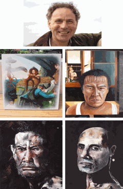 Painter Ian Charles Scott with his 4 paintings.