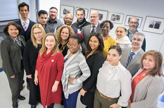 Hostos is thrilled to welcome new Vice President for the Division of Institutional Advancement, Ana Martínez. Individuals gathered. Smile.