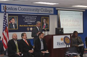 Diversity drives Hostos and that spirit was in the air when Congressman José E. Serrano and State Senator José M. Serrano celebrated Black History Month. Speaker Hostos President David Gomez. 4 men. 1 woman.