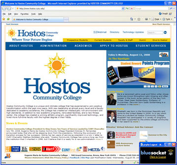 Step 5: Hostos Community College Homepage