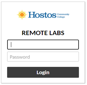 On the Remote Labs Login prompt (shown below), enter your HOSTOS User name and password again