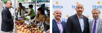 Bronx Borough President Ruben Diaz Jr. Hostos President David Gomez.GrowNYC's Greenmarket Director Michael Hurwitz