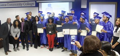 CUNY Fatherhood Academy (CFA) at Hostos celebrated 24 student-fathers who completed their training to take the Test Assessing Secondary Completion (TASC) High School Equivalency test. Adam Cruz, Bryan David, Carl Dilligard, Clifford Johnson, Cyrus Bennett, Darin Minor, Darrell Green, Drew Wilcox, Gilbert Colon, Jonathan Colon, Sidick Adams, Jovane Green, Juan Lopez, Louie Torres, Michael Ortega, Mubarak Adams, Omarie Corley, Phillip Williams, Quaneil Simmons, Sha'Quinn Cromedy, Terrence Ramos, Thelmo Sanchez, Tylek McEleveen, and Victor Ramos.