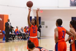 Hostos Basketball player Destini Green (No. 23).
