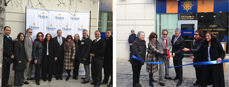 2 photos. Photos 1 & 2 Hostos President David Gomez and Faculty attends the opening of the new CUNY Language Immersion Program (CLIP) at Hostos building