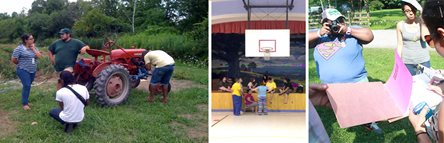 3 Photos. First photo, individuals listening to farmer with tractor. second photo, students standing in GYM. third photo, student taking pictures with a camera.